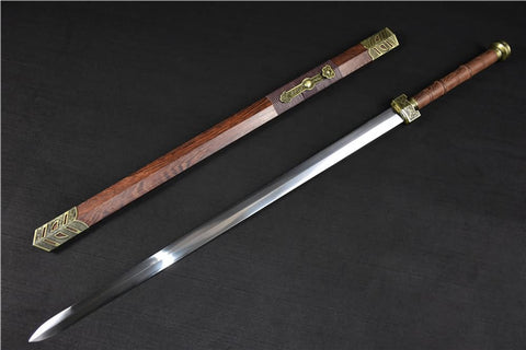 Ruyi jian sword(High carbon steel blade,Rosewood scabbard,Alloy)Heat tempered