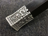 Chinese sword,Qin jian,High carbon steel blade,Black wood,Alloy