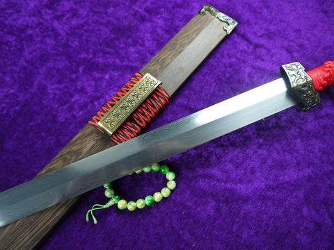 Chinese sword/Han jian/Damascus steel handmade blade,Rosewood scabbard)Red handle