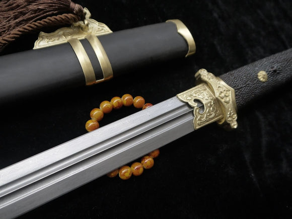 Tang sword,Folded steel,Black scabbard,skin hilt,Copper fitting,Length 39 inch - Chinese sword shop
