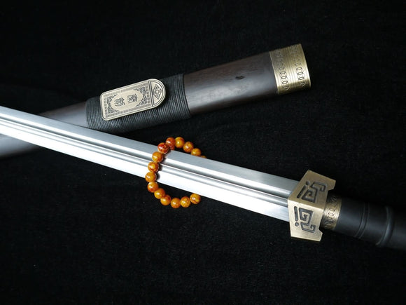 Qin sword,Pattern steel blade,Black wood scabbard,Alloy fitting,Length 30 inch - Chinese sword shop