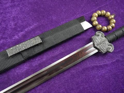 Han sword/Damascus steel red blade/Ebony scabbard/Iron fittings