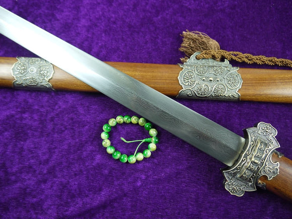 Tang war sword/Damascus steel blade/Alloy/MAHOGANY scabbard/Length 40