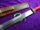 Han jian/Damascus steel handmade blade,Rosewood/Red handle - Chinese sword shop