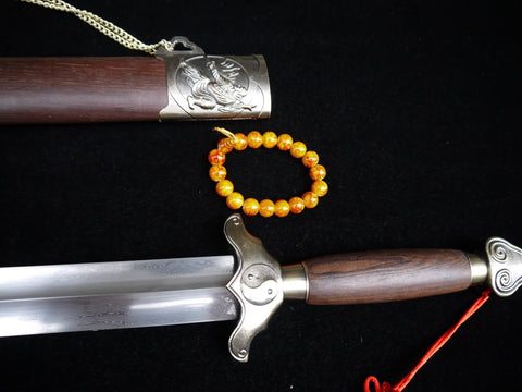 Training sword,Taiji jian,Pattern steel,Rosewood scabbard,Alloy fittings