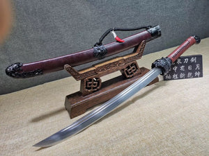 Dragon Tiger Broadsword(High carbon steel blade,Leather scabbard)Sharp - Chinese sword shop