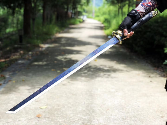 Long Dao saber,Hihg carbon steel blade,Leather scabbard