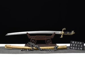 Saber,Forged damascus steel,Brass scabbard - Chinese sword shop