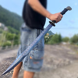 Chopper,War sword,Forged High carbon steel blue blade,Leather scabbard