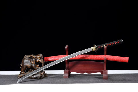 Red samurai sword,High carbon steel blade,Leather scabbard - Chinese sword shop