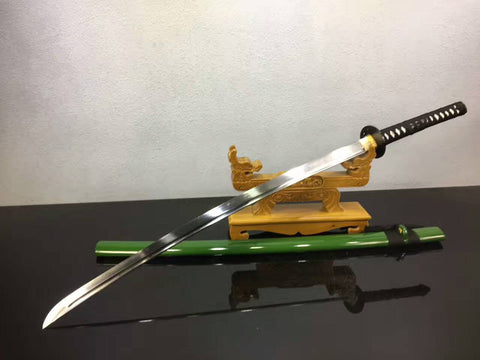 Samurai sword,katana(High manganese steel,Green scabbard,Alloy fitted)Full tang,Length 39""