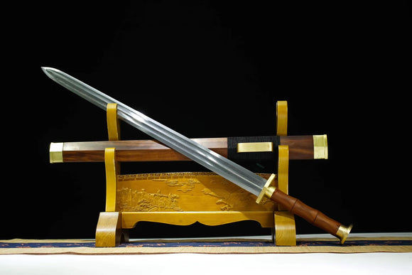 Han jian,Handmade Damascus steel blade,Rosewood,Brass fittings - Chinese sword shop
