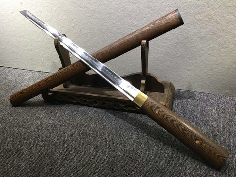 Tang dao,Hand forged,High carbon steel burn blade,Rosewood scabbard