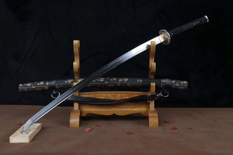 Nihontou katana,High carbon steel burn blade,Leather scabbard