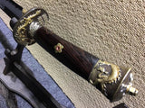 Broadsword,Damascus steel burn blade,Ebony scabbard,Brass fittings&Handmade art - Chinese sword shop
