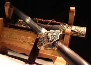 "Zodiac sword(Damascus steel blade,Ebony Scabbard,Brass fitted)Length 39"" - Chinese sword shop"