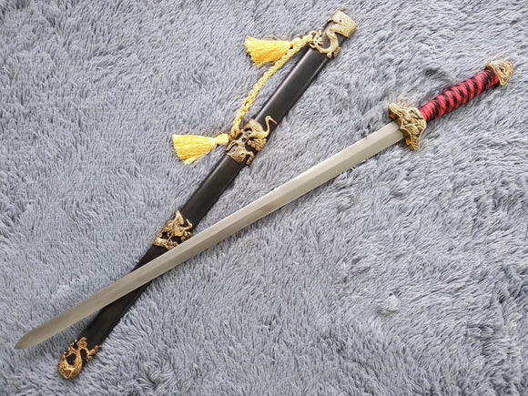 Pine crane sword,Damascus steel blade,Black wood,Alloy - Chinese sword shop