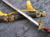 Pine crane sword,Damascus steel blade,Black wood,Alloy