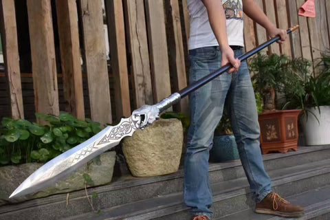 Dragon lance/China spear/High manganese steel Spearhead,Stainless steel rod,Length 86 inch - Chinese sword shop