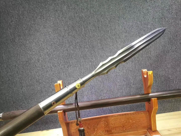 Spear,China lance,Damascus steel Spearhead,Ebony rod,Length 86 inch - Chinese sword shop
