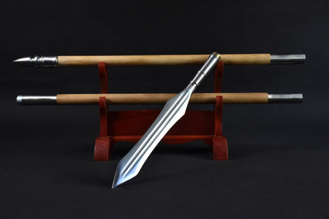 China spear,Handmade High carbon steel Spearhead,Hardwood rod - Chinese sword shop