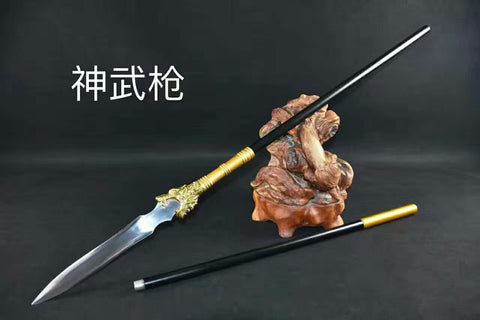 Dragon spear,lance,High manganese steel Spearhead,Stainless steel rod,Length 82 inch - Chinese sword shop