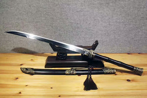 Cut horse broadsword(Folded steel blade,Ebony Scabbard,Brass fitting)Full tang - Chinese sword shop