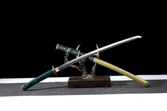 Samurai Tachi T10 Steel Clay Tempered Brass Fittings Full Tang Katana Custom