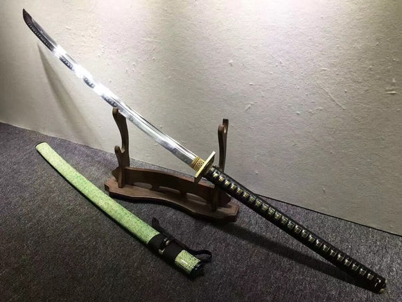 Japanese tachi,Hand forged(Hihg carbon steel blade,Green skin)Full tang - Chinese sword shop