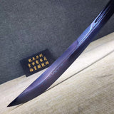 Samurai sword,Folding steel blue blade,Leather scabbard,Alloy Tosogu - Chinese sword shop