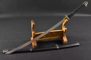 Katana,tachi,Medium carbon steel,Black scabbard,Alloy fitting,Full tang,Length 39 inch - Chinese sword shop