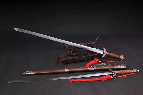 Bat two swords,Stainless steel blade,Rosewood scabbard,Alloy&training sword - Chinese sword shop