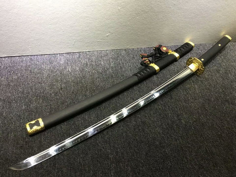 Nihontou Tachi/Katana/High carbon steel/Black wood,Alloy tosogu/Full tang