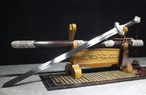 Peony Tai chi Sword/Stainless steel blade/Ebony scabbard/Alloy fittings - Chinese sword shop