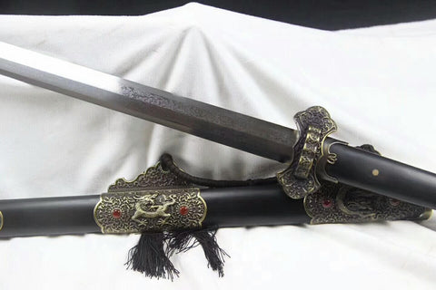 Agate Tang sword,Damascus steel blade,Alloy fittings,Black scabbard