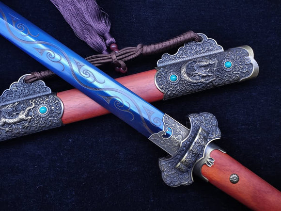 Tang jian sword Forged High Carbon Steel blue Blade Redwood scabbard