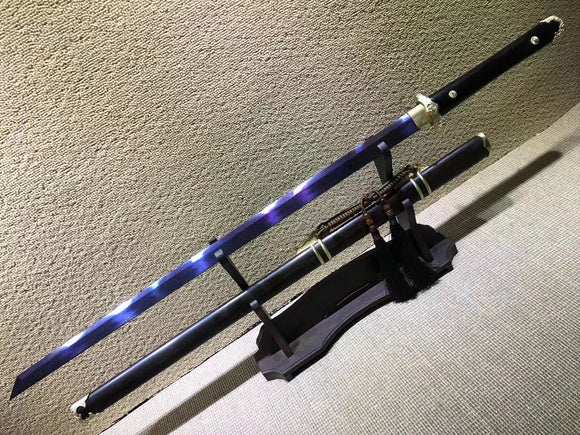 Tang dao,Damascus steel blue blade,Ebony scabbard,Brass fittings - Chinese sword shop