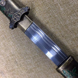 Tang dao sword,Hand forged(Damascus steel blade,Brass scabbard)Full tang - Chinese sword shop
