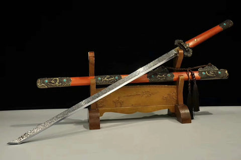 Tang dao sword,High carbon steel blade,Redwood scabbard,Handmade