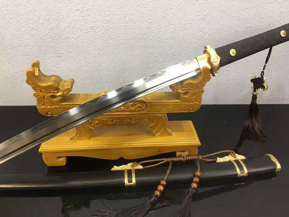 Tang dao(High carbon steel blade,Ebony scabbard,Brass,Fish handle)Full tang - Chinese sword shop