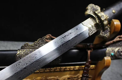 Tang sword(Damascus steel blade,Alloy fittings,Black scabbard)Length 40""