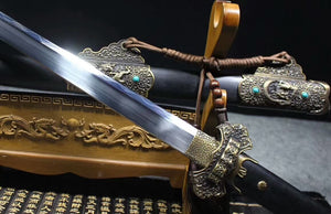 "Tang sword(High carbon steel burn blade,Black scabbard,Alloy fitted)Length 41 "" - Chinese sword shop"