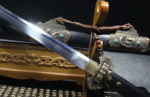Tang sword(High carbon steel burn blade,Black scabbard,Alloy fitted)Length 41 ""