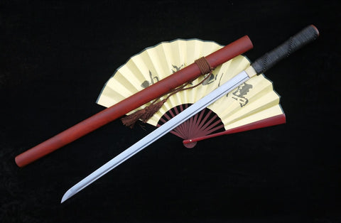 Tang sword,Folded steel,Redwood scabbard,Full tang,Length 39""