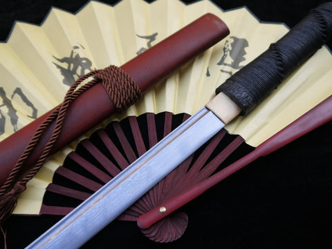 Tang sword,Folded steel,Redwood scabbard,Full tang,Length 39 inch