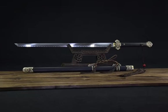 Tang dao sword,Handmade art,Burn blade,Barss fittings,Ebony scabbard - Chinese sword shop
