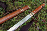 Tang dao sword,High carbon steel etch blade,Brass fittings,Full tang