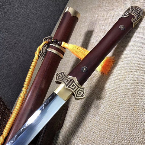 Tang dao,Handmade(High carbon steel blade,Brass)Sharp,Full tang