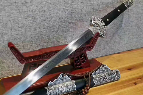Tang jian/Damascus steel blade/Alloy fitted/Black scabbard/Length 41""