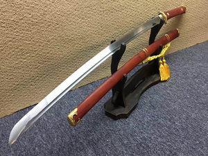 Bending Tang dao/T10 High Carbon Steel/Redwood scabbard/Brass fittings - Chinese sword shop